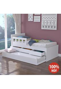 Cama Infantil Bicama 3 Gavetas Com Grade 100% Mdf 907910 Branco - Foscarini