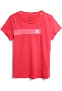 Camiseta Adidas Menina Lisa Vermelha