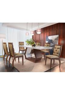 Conjunto De Mesa De Jantar Alvorada Com 6 Cadeiras Tamara Suede Chocolate Com Café E Off White