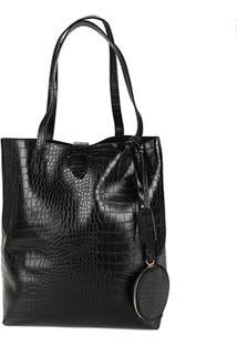 Bolsa Shoestock Shopper Notebook Croco Feminina - Feminino-Preto