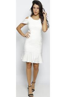 Vestido Mídi Com Ombros Vazados - Off Whitemoiselle