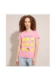 Camiseta De Algodão Lisa Simpson Manga Curta Decote Redondo Rosa