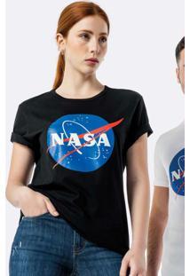 Camiseta Preta Slim Nasa® Em Malha Uv