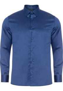Camisa Masculina Cetim - Azul