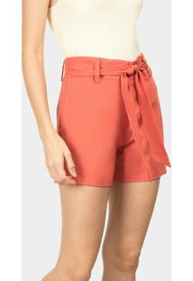 Shorts Cintura Alta Linho Laranja Happily - Lez A Lez