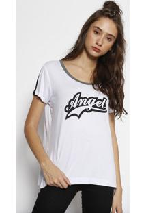 """Camiseta """"Angelâ®""""- Branca & Pretaangel"""
