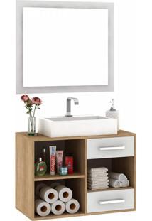 Gabinete Suspenso Para Banheiro Com Espelho 1 Porta 2 Gavetas E Nicho 77Cm Siena Móveis