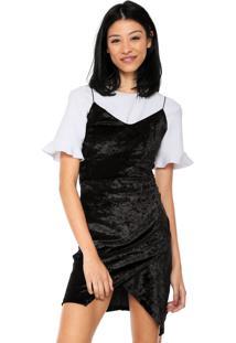 Vestido Fiveblu Veludo Slip Dress Preto