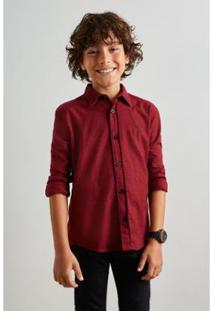 Camisa Infantil Mini Pf Pied Poule Color Reserva Mini Masculina - Masculino-Bordô
