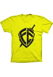 Camiseta Baby Look Lu Geek Escudo Da Fé Amarelo