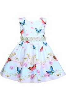 Vestido Infantil Marie Borboletas Branco