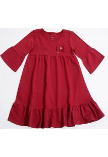 Vestido Infantil Piquet Manga Longa Marisa