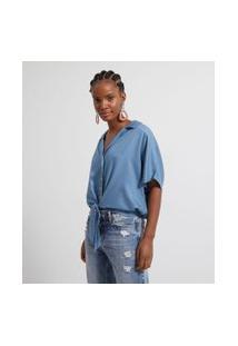 Camisa Lisa Com Botões E Amarração | Marfinno | Azul | Gg