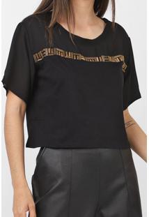 Camiseta Dimy Recortes Preta - Kanui