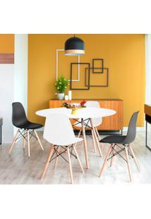 Conjunto De Mesa De Jantar Com 4 Cadeiras Eames Eiffel Branco E Preto