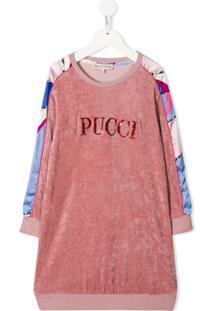 Emilio Pucci Junior Vestido De Tricô Com Logo - Rosa