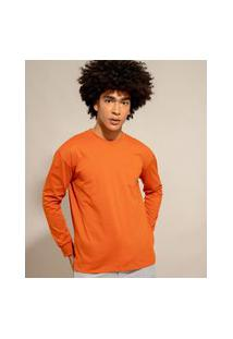 Camiseta De Algodão Básica Com Bolso Manga Longa Decote Redondo Laranja