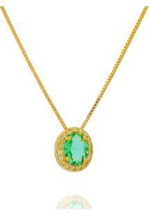 Colar Dona Diva Semi Jóia Princesa Oval Feminino - Feminino-Verde