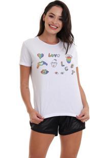 Camiseta Basica Joss Lgbt Love Symbol Branca - Kanui