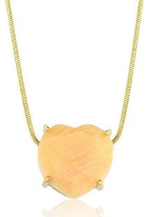 Colar Toque De Joia Coração Pedra Natural Amazonita Ouro Amarelo - Kanui