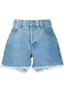 Diesel Short Jeans Com Acabamento Desfiado - Azul