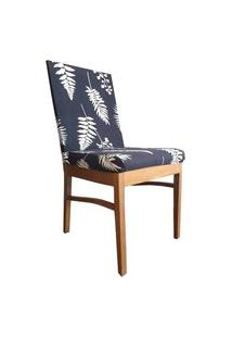 Capa Para Cadeira De Jantar Ajustável Azul Escuro Folhagem