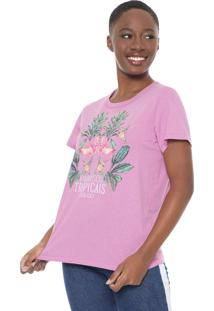 Camiseta Colcci Tropical Rosa