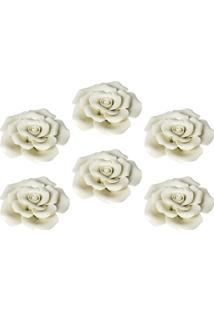 Enfeite Rose Jogo C/6 Rosas Em Cerâmica Kasa Ideia