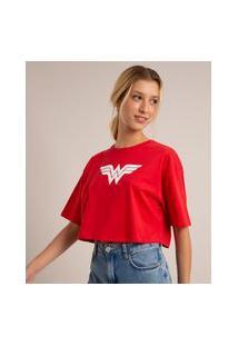 Camiseta Cropped Oversized De Algodão Mulher Maravilha Manga Curta Decote Redondo Vermelha