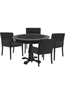 Mesa De Jogos Carteado Redonda Victoria Tampo Reversível Preto Com 4 Cadeiras Vicenza Preto Fosco - Gran Belo