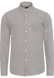 Camisa Masculina Linen Micro Plaid - Cinza