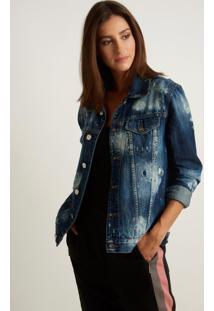 Jaqueta Le Lis Blanc Oversized Jeans Azul Feminina (Jeans Medio, Gg)