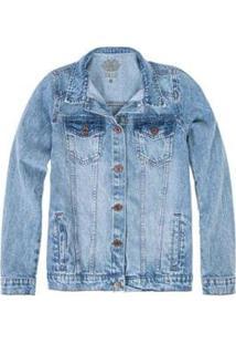 Jaqueta Jeans Marmorizada Feminino - Feminino-Azul