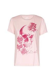 Camiseta Feminina Caveira Rosas Lets Rock Rosa Cl