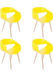 Kit 04 Cadeiras Petra Encosto Curvo Sala De Jantar Amarela Pés Madeira