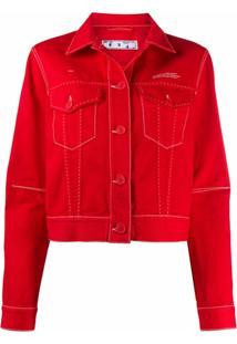 Off-White Jaqueta Jeans Com Estampa De Logo - Vermelho