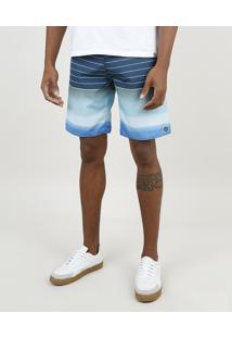 Bermuda Surf Masculina Com Listras E Bolso Azul