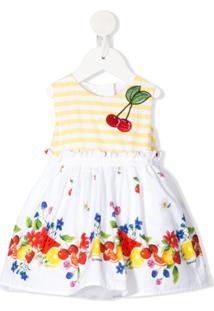 Monnalisa Vestido Com Estampa De Frutas - Branco
