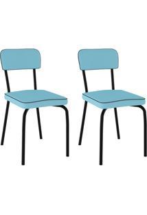 Conjunto Com 2 Cadeiras Vinil Supreme Preto E Azul