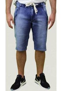 Bermuda Jeans Com Cordão Masculina - Masculino-Azul