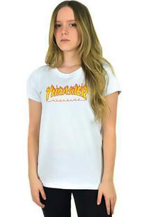 Camiseta Thrasher Magazine Feminina Flame Logo Branca - Kanui