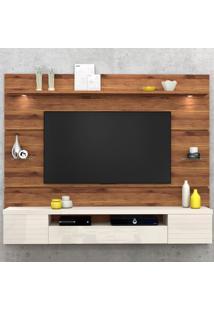 """Painel Para Tv Até 55"""" Estilo 13058 Rústico Terrara/Off White - Dj Móveis"""
