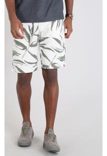 Bermuda Masculina Slim Estampada De Folhagem Com Linho Off White