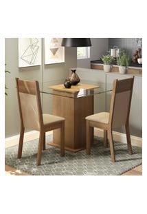 Conjunto Sala De Jantar Madesa Moni Mesa Tampo De Vidro Com 2 Cadeiras Marrom