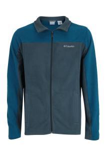 Jaqueta De Frio Fleece Columbia Western Ridge - Masculina - Cinza Esc/Azul Esc