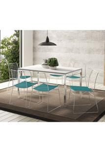 Mesa 1526 Branca Cromada Com 6 Cadeiras 1712 Turquesa Carraro