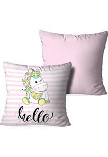 Kit 2 Capas Para Almofadas Decorativas Love Decor Hello Unicorn Multicolorida Rosa