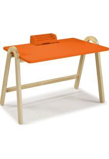 Mesa Escrivaninha Com Porta Objetos Ringo 1031 Natural/Laranja Novo - Maxima