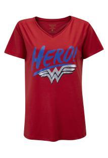 Camiseta Liga Da Justiça Mulher Maravilha Hero - Feminina - Vinho