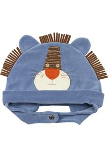 Touca Ano Zero Bebê Plush Leãozinho Azul